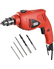 Black & Decker 500W 10mm Hammer Drill Single Speed with 5 Accessories, HD5010A5-B5