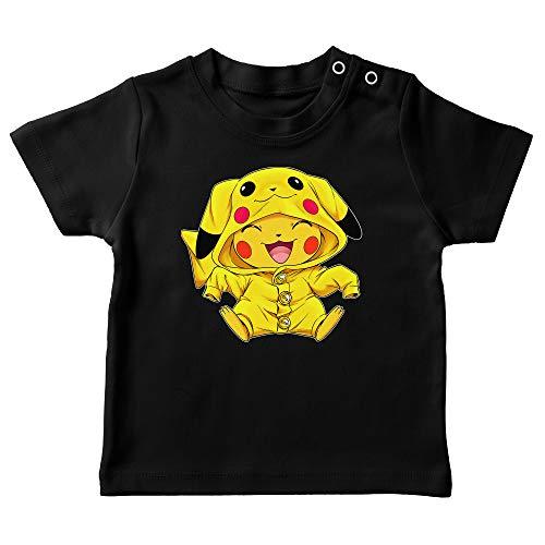 Okiwoki T-Shirt bébé Noir Parodie Pokémon - Pikachu - Le Cosplayer Ultime !! (T-Shirt de qualité Premium de Taille 24 Mois - imprimé en France)