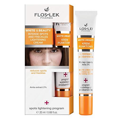 FLOSLEK Aufhellende-Punkt Creme für Flecken und Sommersprossen   20 ml   Bleichcreme Reduziert die Intensität von Verfärbungen, Beruhigt die Rötungen & Schützt die Haut   Dermatologisch getestet