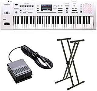 Roland FA-06-SC シンセサイザー 限定ホワイト 61鍵盤 ベーシックセット (スタンド + ダンパーペダル) 初心者セット ローランド