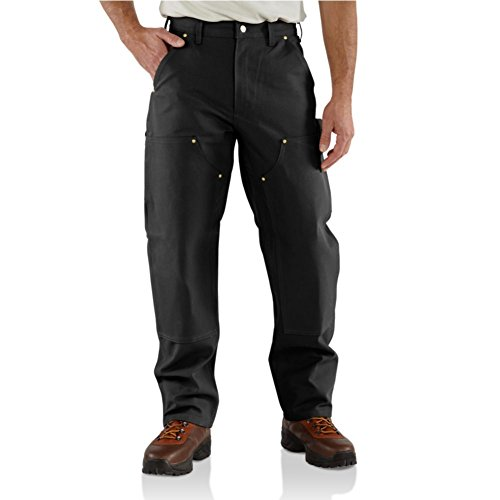 Carhartt Men's Firm Duck Double-Front Work Dungaree Pant B01, Black, 36W X 30L