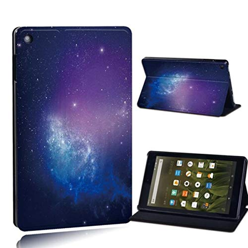 for Amazon Fire 7 5/7/9th Fire HD 8 10 Alexa Printed Leather Tablet Stand Folio Cover-Ultra-Thin Star Space Tablet Stand Case,14.Purple Galaxy,Fire HD 10
