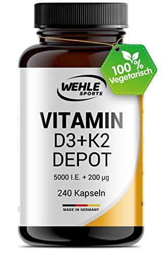 Vitamin D3 K2 Depot 240 Kapseln Hochdosiert - 5.000 IE Vitamin D3 + 200 µg Vitamin K2 MK7 All Trans I Ohne Zusätze, Hergestellt in DE.