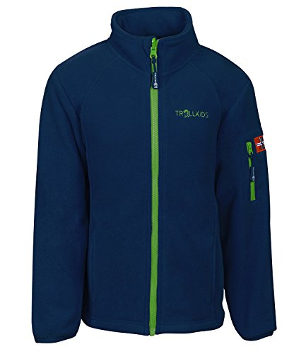 Trollkids Kinder Fleece-Jacke Arendal, Marineblau/Hellgrün, Größe 128