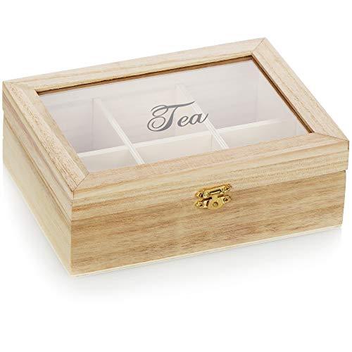 com-four® Teebox mit 6 Fächern - Teebeutel Aufbewahrungsbox aus Holz - Teebeutelbox mit Sichtfenster - Teekiste - Teeaufbewahrung (01 Stück - 20.5x15.5x7.5cm Hellbraun)