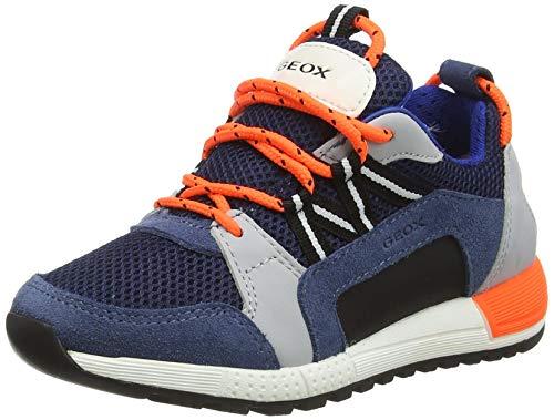 Geox J ALBEN Boy E Sneaker, AVIO/Grey, 34 EU