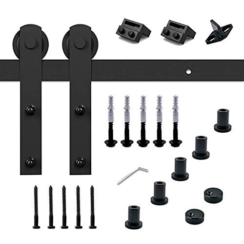 Trintion 200cm (6.56 ft) Schiebetürsystem verstellbare Schiebetürbeschlag Set Laufschiene Schiebetür Hängeschiene mit Schwarz Pulverbeschichte