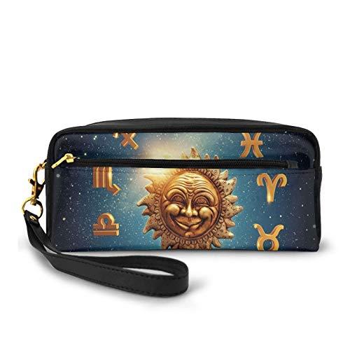 Piccola borsa per il trucco, segni antichi che circonda un sole di luna nello spazio con nebulosa di Stardust, borsa per cosmetici da viaggio in pelle PU e organizer per matite