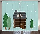 ABAKUHAUS Cabaña de Madera Cortinas, Cabaña en el Paisaje Nevado, Sala de Estar Dormitorio Cortinas Ventana Set de Dos Paños, 280 x 225 cm, Pálida Seafoam Multicolor
