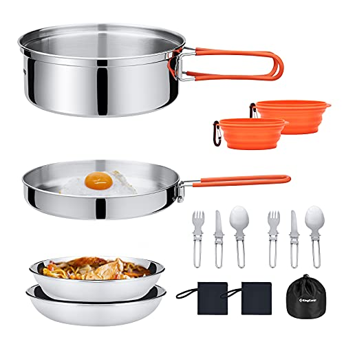 KingCamp 17 PCS Stainless Steel Camping Cookware Mess Kit Lightweight Compact Backpacking Cooking Set for Outdoor Picnic Hiking Includes Pot Pan Bowls Plates Knife Spoon Fork 2 Persons