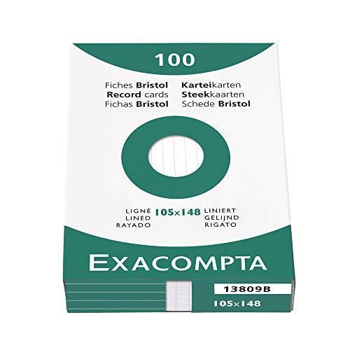 Exacompta 13809B Packung (mit 100 Karteikarten, DIN A6, 105 x 148 mm, liniert, ideal für die Schule) 1er Pack weiß