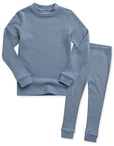 Vaenait baby Kleinkind Jungen Langarm zweiteilig Schlafanzug Modal Pajamas 2pcs Set Rib Knit Blue L