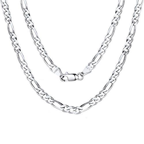 ChainsPro Chaine Homme Argent 925 Maille Figaro 3 en 1,65 cm 3mm,Collier Fine pour Pendentif,Bijoux Cadeau pour Hommes Femmes Ados Garçons