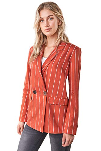 Sugarlips Women's Cancun Striped Boyfriend Blazer, Rust-White, S