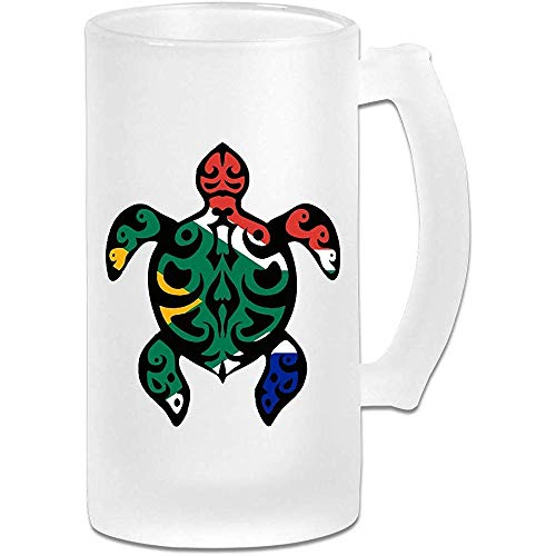 NHJYU Boccale di Birra South African Flag Turtle Frosted Glass Stein Beer Mug - Personalized Custom Pub Mug- Gift for Your Favorite Beer Drinker