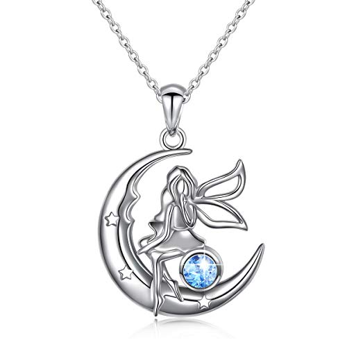 S925 Sterling Silver Angel Fairy Moon Jewelry Pendant Necklace for Women Princess Gifts,18 inches