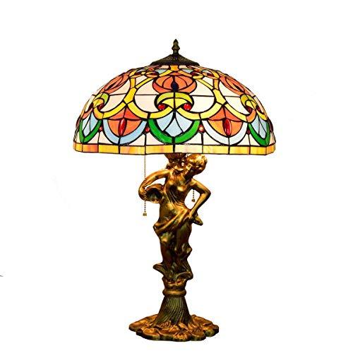 Lámpara de mesa Lámparas de Nightstand 16 pulgadas Europea creativo del corazón del melocotón retro perlas cristal de la mancha del hotel Salón Comedor Dormitorio lámpara de mesa de aleación de alumin