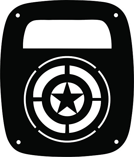 JeepTails Captain America Shield Tail lamp Light Covers Compatible with Jeep Wrangler TJ and YJ - Black - Set of 2