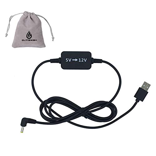 Qutaway 5V a 12V Cable elevador Cable convertidor de voltaje USB Compatible con Amazon Echo Spot y Echo Dot 3ra generación (negro, 1.6M, 5 a 12V)