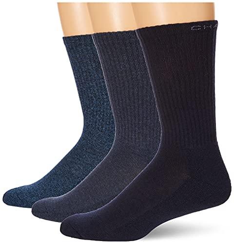Chaps Men's Assorted Solid Mock Casual Crew Socks (3 Pack), Dark Denim Ribbed, Shoe Size: 6-12