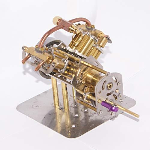 Leic Dampfmaschine Modell Mini V4 Ganzmetall-Retro-Motor mit Rückwärtsgetriebe für Dampfschiff-Automodelle