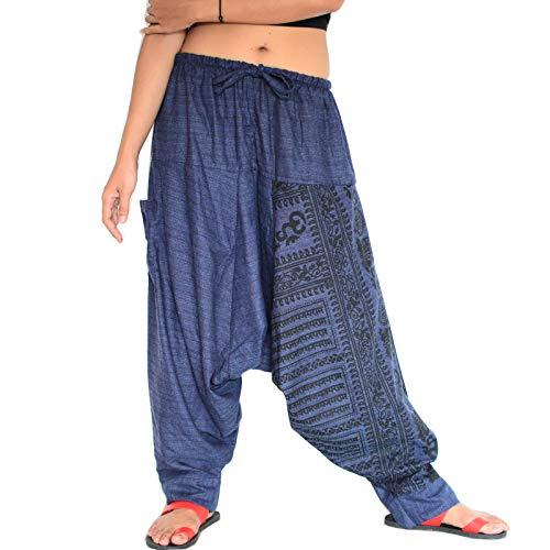 Siamrose Haremshose für Damen und Herren, Baggy-Hose, Aladin-Hose, Yoga-Hose, Einheitsgröße -  Blau -  Einheitsgröße