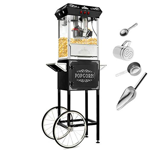 New Olde Midway Vintage Style Popcorn Machine Maker Popper with Cart and 10-Ounce Kettle - Black