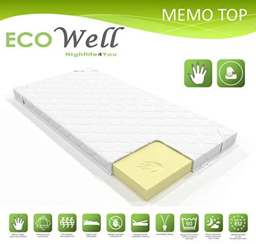 ECO WELL VISCO Memory Schaum Topper 7cm waschbarer Bezug/orthopädische viskoelastische Matratzenauflage/Matratzenschoner für Boxspringbett/Matratzentopper 180 x 200 cm für unbequeme Betten
