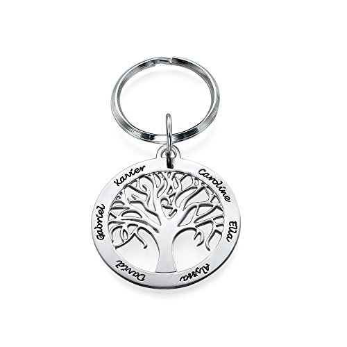 MyNameNecklace Personalized Family Tree Keychain in Sterling Silver - Custom Name Jewelry