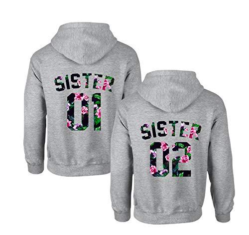 Best Friends Hoodies für Zwei Mädchen Sister Freunde Pullover Set für 2 Damen Langarm Kapuzenpullover Pulli Freundin BFF Geschenke Schwarz Grau (Grau - 4, 01-M + 02-M)