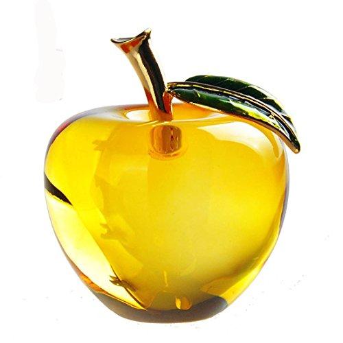 Waltz&F Crystal Apple Paperweight Craft Decoration (Yellow)