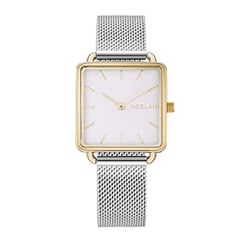 NOELANI Reloj de cuarzo para mujer, acero inoxidable IP dorado bicolor