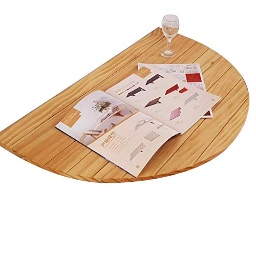 Half Round Pine Solid Wood Wall-mounted Drop-leaf Table, Semicircle Folding Table Kitchen & Dining Desk, Children, Save Space, Decorative Wall Shelf-natural