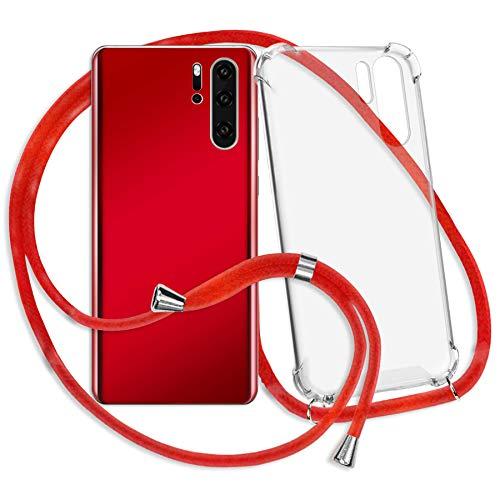 mtb more energy® Handykette kompatibel mit Huawei P9 lite (VNS-L21, L31 / 5.2'') - rot - Smartphone Hülle zum Umhängen - Anti Shock Strong TPU Hülle