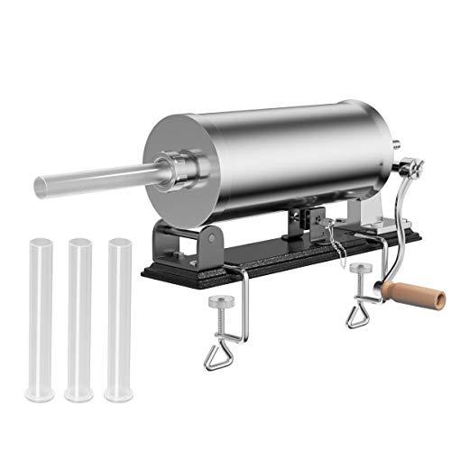 DREAMADE Wurstfüllmaschine mit 4 Füllrohre, Wurstfüller Edelstahl Wurstmaschine, Fleischwolf Wurstspritze Wurstpresse, Silbrig (3,6 L)