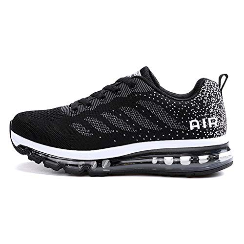 Axcone Homme Femme Air Running Baskets Chaussures Outdoor Running Gym Fitness Sport Sneakers Style Multicolore Respirante - 34EU-46EU, Noir, 37 EU