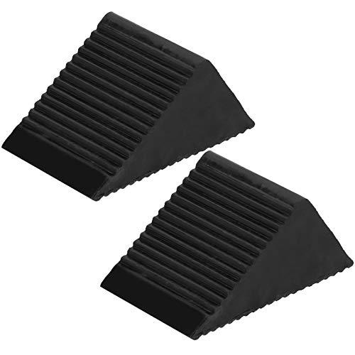 Calzo de goma para rueda, 2 uds, Calzo para rueda de coche, bloque de parada de neumático de goma portátil para patio, garaje, negro, 12,5x7,5x6 cm