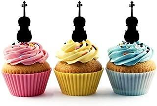 TA0166 Violin Silhouette Party Wedding Birthday Acrylic Cupcake Toppers Decor 10 pcs