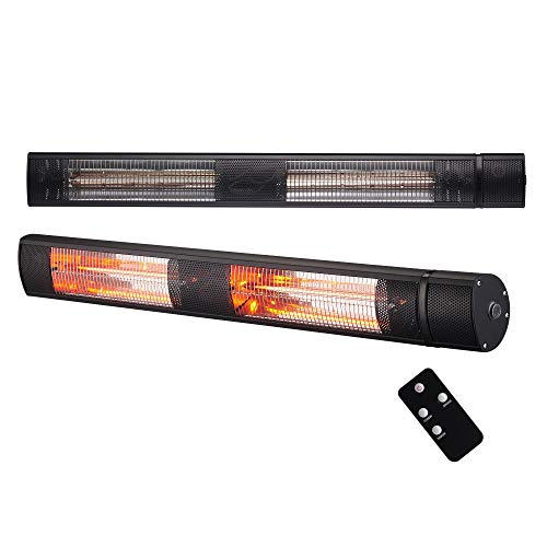 Arebos Infrarot Heizstrahler 3000 W | mit Fernbedienung | IP65 Schutzart | Low-Glare-Technologie | 3 Heizstufen