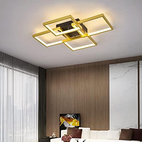 Lámpara LED dorada para salón, moderna, rectangular, geométrica, para comedor, pasillo, cocina, baño, habitación infantil, habitación juvenil, casa de campo, comedor, lámpara colgante