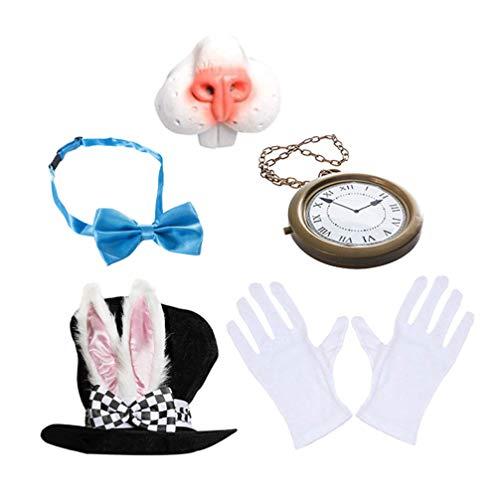 Kisangel 1 Juego de Disfraz de Conejo Blanco de Pascua Nariz de Conejo de Pascua Pajarita Sombrero Blanco Reloj Guantes Conejos Disfraces para Nios Suministros para Fiestas de Pascua