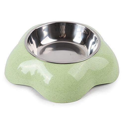 EUYIMOMO comedero automatico Gatos,Cuenco para Mascotas con Forma de Flor de Paja de Trigo, Cuenco para Mascotas Dos en uno de Acero Inoxidable, Verde