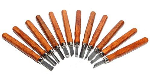 Set 12 piezas de cincel para tallar madera, herramientas de carpintería de acero de aleación con funda de transporte – Ideal para bricolaje, manualidades, arcilla, carpintería, principiantes