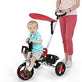 Afang Kinder Dreirad, Lenkbarer Schubstange 2 in 1 Kinderdreirad Kinder Mit Flüsterleise Gummireifen, Abnehmbarer Sonnendach&Schubstange Dreiräder
