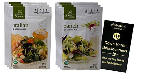 Simply Organic Salad Dressing Seasoning Powder Mix | 2 Flavor Variety (3) Each: Ranch, Italian (.7-1 Ounces) Plus Recipe Booklet Bundle