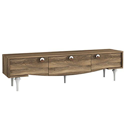 Alphamoebel moebel17 4302 Kumsal TV Lowboard Anbauwand Fernsehtisch Sideboard Wohnzimmer, Walnuss Braun, Holz, mit dekorativem Korpus, 180 x 45,8 x 29,5 cm