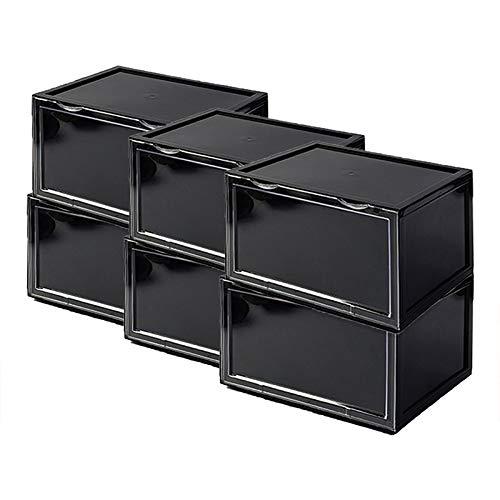 PUCHIKA Schuhbox Schwarz,6er Set, Schuhboxen Stapelbar Mehrweg Schuhe Organizer mit Durchsichtiger Tür Aufbewahrungsbox