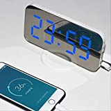 RENQINGLIN Reloj Despertador LED Nuevo LED Espejo Alarma Reloj Dual USB Puerto Carga Despertador Snooze Wake Light Electronic Digital Clock Home Decoration Clock Cuerpo Blanco