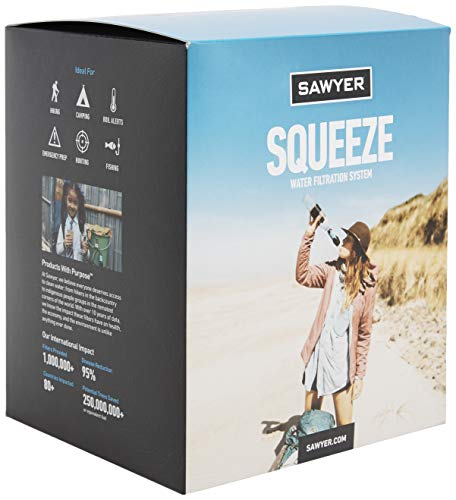 Sawyer Products SP129 Squeeze Water Filtration System w/ Two 32-Oz Squeeze Pouches, Straw, and Hydration Pack Adapter