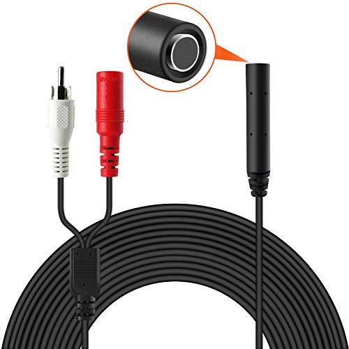 Dericam Micrófono de alta sensibilidad, recogida de audio para cámara de vigilancia IP, grabadora de micrófono para cámara de vigilancia al aire libre, conector de micrófono